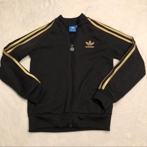 Adidas Black Superstar Jacket with Gold Stripes